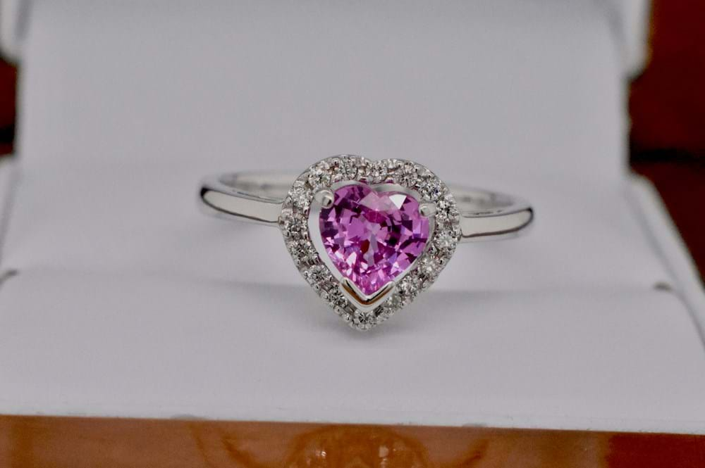 9ct Heart Shape Pink Sapphire Amp Diamond Ring